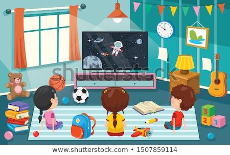 Cartoon statek kosmiczny księżyc domu komputera Zdjęcia stock © RAStudio