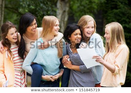 Hat tinilányok ünnepel sikeres vizsga eredmények Stock fotó © monkey_business