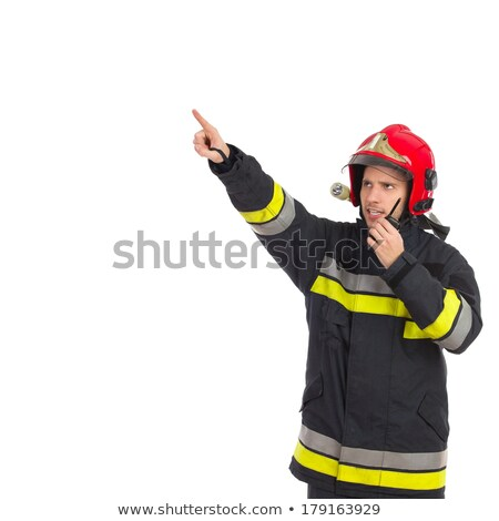 Portrait of a firefighter with finger in mouth Stock photo © bmonteny