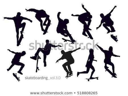 patinador · siluetas · cuerpo · deportes · urbanas · velocidad - foto stock © Slobelix
