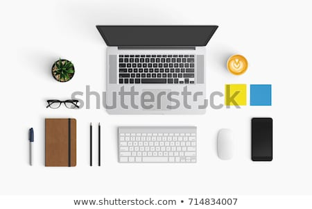 simple work table with cup of coffee stock photo © nalinratphi