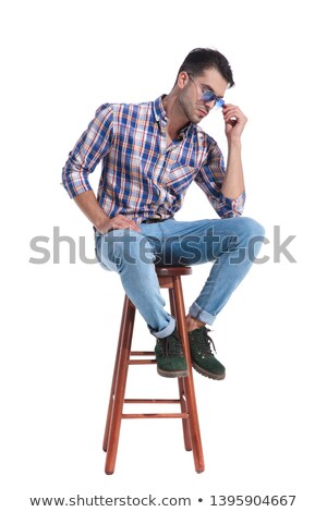 ストックフォト: ファッション · 男 · 青 · シャツ · 座って