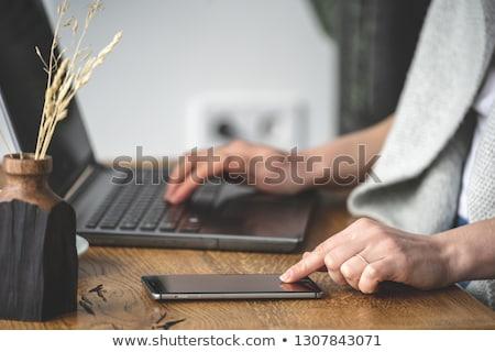 Komórkowej laptop klawiatury czarny działalności biuro Zdjęcia stock © cla78