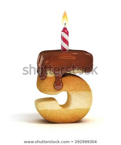 Foto stock: Aniversário · vela · forma · número · cinco