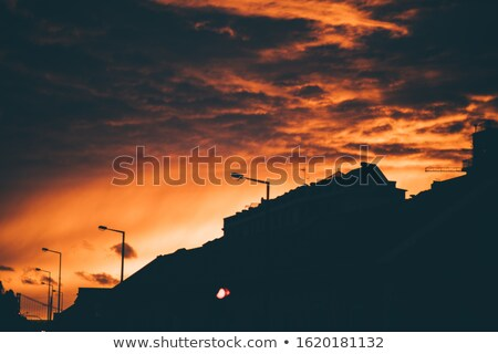 beautiful sunset with streetlight and rooftop Stock photo © morrbyte