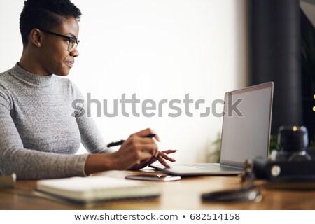 Belo mulher negra leitura informação isolado preto Foto stock © alexandrenunes