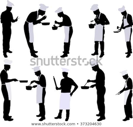 blanco · negro · siluetas · alimentos · negro · silueta · acero - foto stock © slobelix