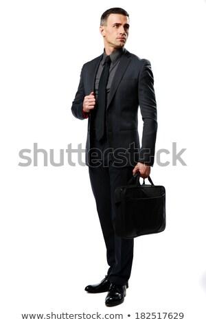 pensativo · humor · empresário · sessão · tabela · telefone · móvel - foto stock © deandrobot