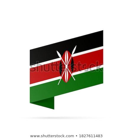 Düğme simge Kenya bayrak harita beyaz Stok fotoğraf © mayboro1964