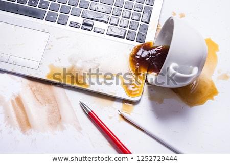 kahve · sıçrama · kahve · fincanı · içmek · damla · hareket - stok fotoğraf © jarin13