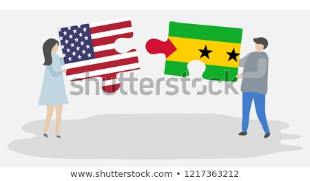 usa and sao tome and principe flags in puzzle stock photo © istanbul2009