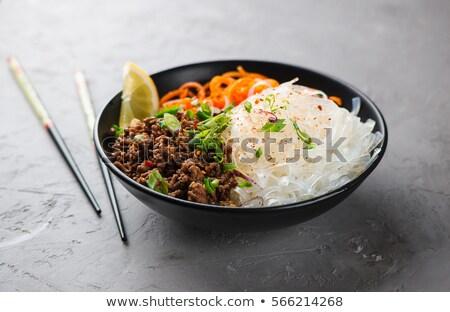 pasta salad beef and mushrooms stock photo © ironstealth
