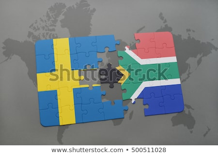 Stock photo: South Africa and European Union Flags in puzzle