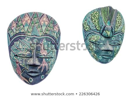 tribali · buio · legno · faccia · maschera · isolato - foto d'archivio © rekemp