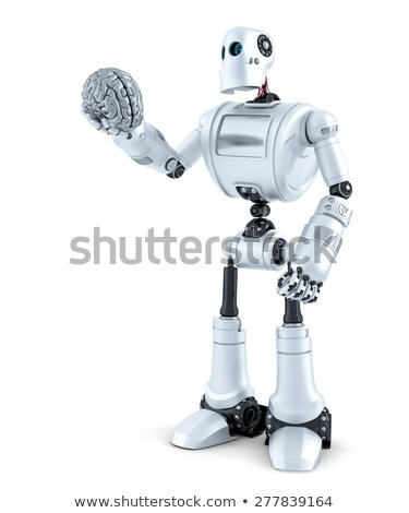 robot holds a human brain in his hand isolated contains clipping path stock photo © kirill_m