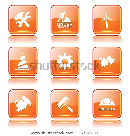 Web Internet Square Vector Orange Icon Design Set 2 Stock photo © rizwanali3d