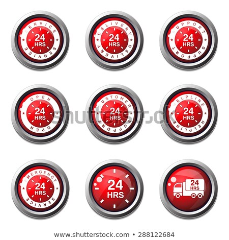 24 hours services red vector button icon design set stock photo © rizwanali3d