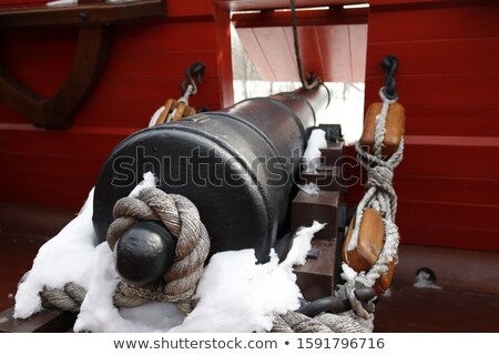 oude · kanon · zee · houten · bal · pistool - stockfoto © grafvision