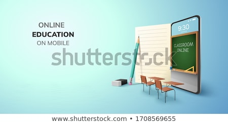 tanszerek · okostelefon · iskolatábla · iskola · irodaszerek · almák - stock fotó © karandaev