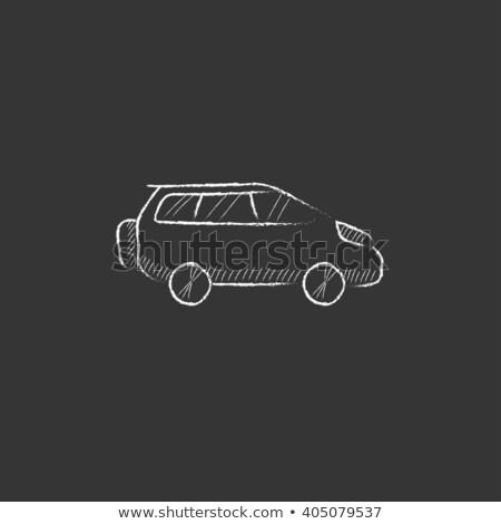 マイクロバス アイコン チョーク 手描き 黒板 ストックフォト © RAStudio