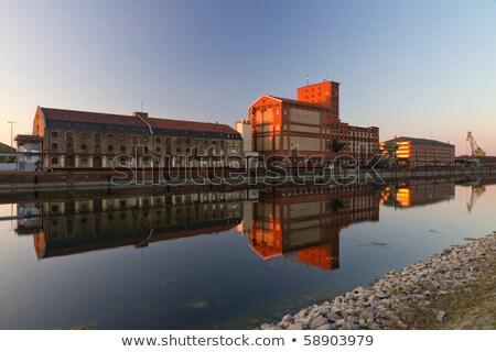 Dockside crane in Inner Harbour of Karlsruhe, Germany Stock photo © fisfra