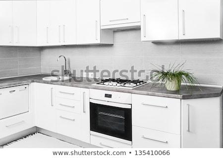 ezüst · mikró · sütő · nyitott · ajtó · fehér · ablak - stock fotó © lunamarina
