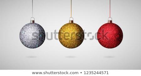 赤 銀 グリッター クリスマス ボール 孤立した ストックフォト © plasticrobot