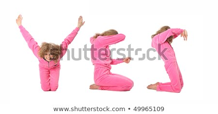 Girl in pink clothes  making word YES, collage Stock photo © Paha_L