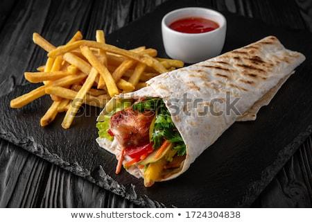 a · la · parrilla · cerdo · maíz · carne · blanco · placa - foto stock © digifoodstock