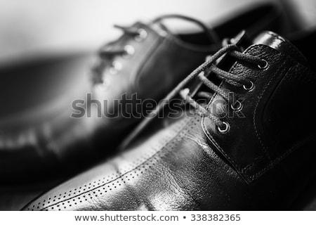 Hivatalos fekete bőr cipő fehér Stock fotó © Akhilesh