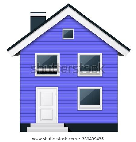 Blue, two-story wooden suburban townhouse in scandinavian style Stock photo © Winner