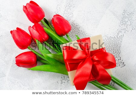 red tulips and gift box stock photo © lana_m