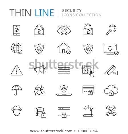 tijolos · fino · linha · ícone · teia · móvel - foto stock © rastudio
