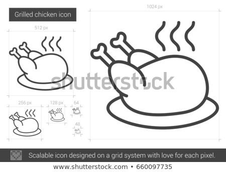 pişmiş · tavuk · buhar · vektör · hat · ikon - stok fotoğraf © rastudio