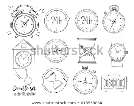 doodle clock icons set stock photo © pakete