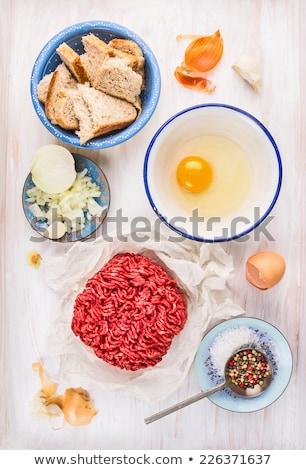 vue · ingrédients · planche · à · découper · table · bois · oeuf - photo stock © digifoodstock