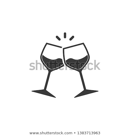 Two glasses of wine flat icon - celebration symbol stock photo © MarySan