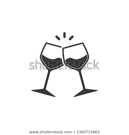 Twee bril wijn icon viering symbool Stockfoto © MarySan