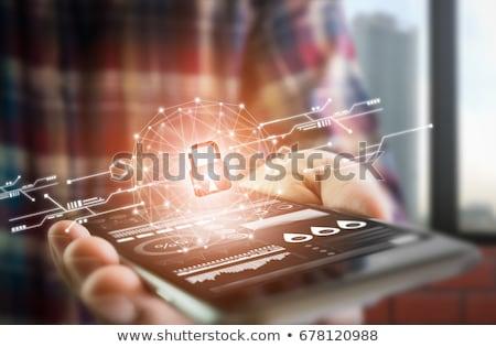 chiave · messaggio · dati · tavolo · in · legno · business · computer - foto d'archivio © fuzzbones0