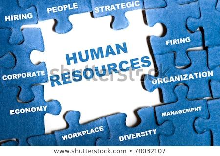 Puzzle Wort menschlichen Ressourcen Puzzleteile Hand Stock foto © fuzzbones0