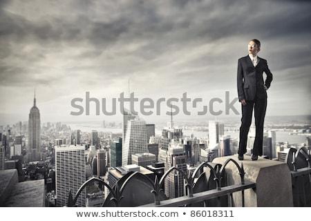 Bastante menina telhado jovem mulher atraente em pé Foto stock © Aikon