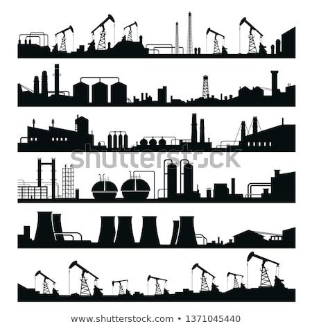 przemysłowych · sylwetka · czarny · elektrownia · zmierzch · niebo - zdjęcia stock © lienkie