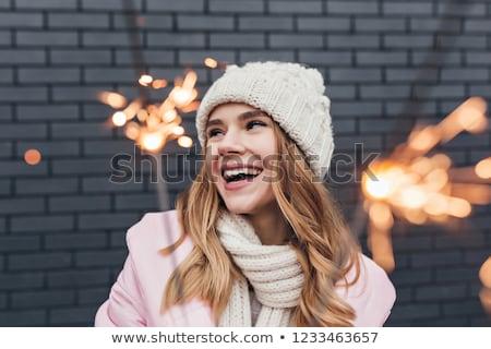 Pretty blond girl enjoy chrismas with sparkler Stock photo © dash