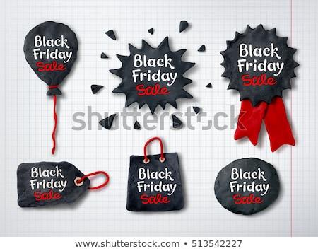 Black friday medalla banner mano rojo Foto stock © Sonya_illustrations