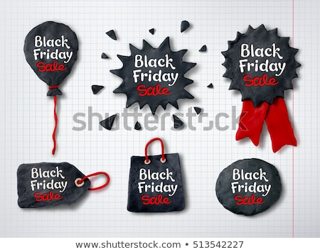 Black friday medaille banner hand Rood feestelijk Stockfoto © Sonya_illustrations