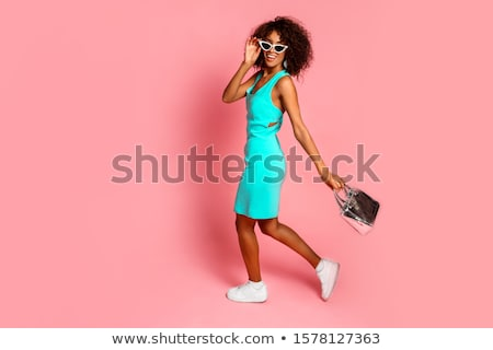 beauty portrait of cute african young woman with stylish makeup stock photo © deandrobot