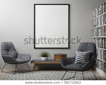 blank picture frame with black armchairs mock up poster 3d stock photo © djmilic