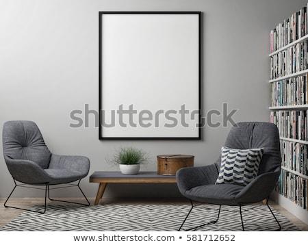 houten · fauteuil · 3d · render · lege · kamer · textuur - stockfoto © djmilic