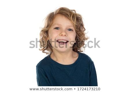 ブロンド 少年 を実行して 幸せ 実行 笑う ストックフォト © karin59