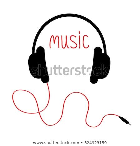 Słuchawki przewód biały odizolowany płytki czarny Zdjęcia stock © luissantos84